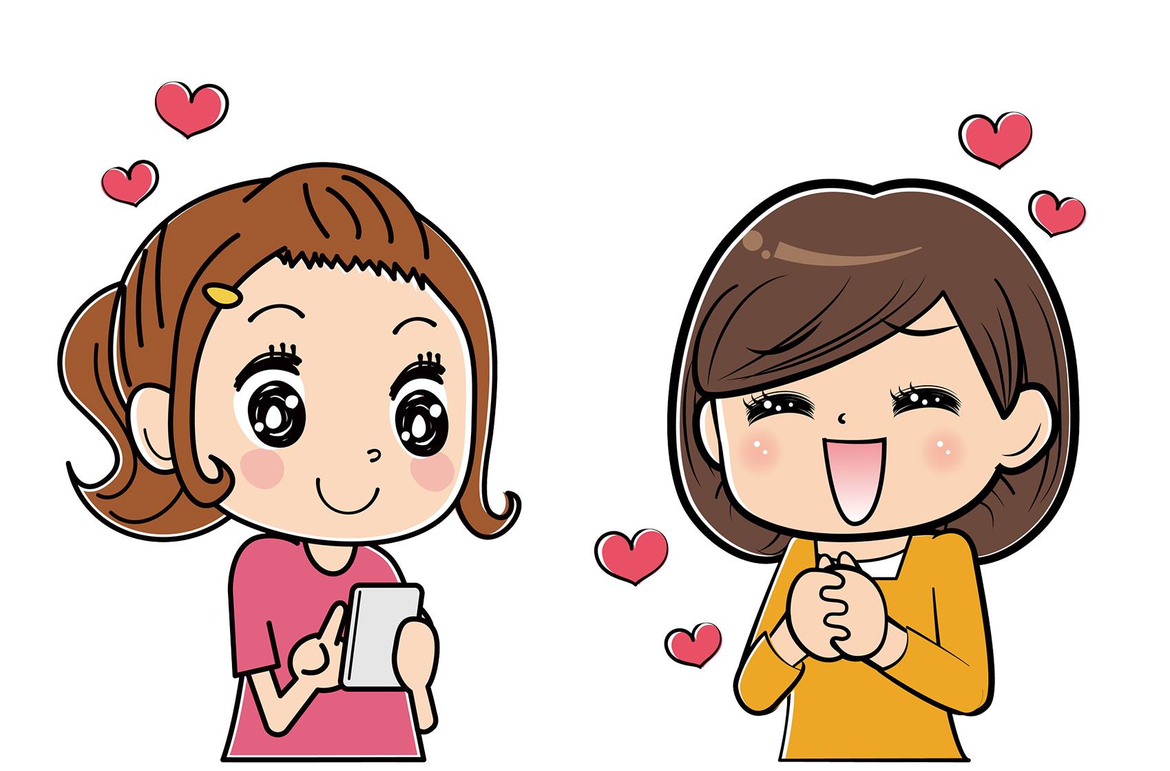 街コンレポート_女性同士で携帯を操作しながら喜んでいるイラストです