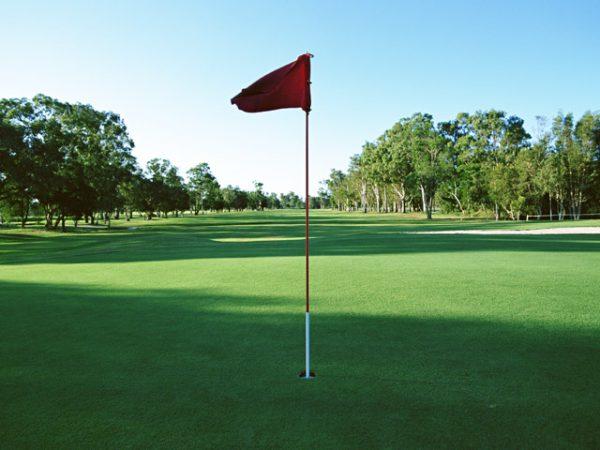 街コンレポート_ゴルフ場のホールカップに旗が刺さっています
