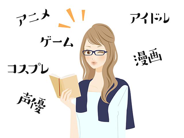 街コンレポート_女性のイラストの周りにアニメ、ゲーム、コスプレ、声優、アイドル、漫画といった文字が書かれています