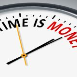 街コンレポート_TIME IS MONEYと書いてある時計